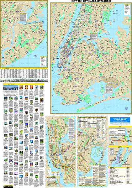 New York City, NY 5 Boroughs Major Attractions Wall Map
