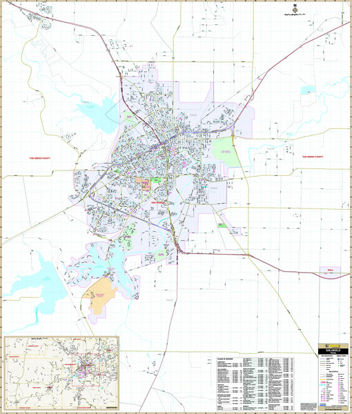 San Angelo, TX Wall Map
