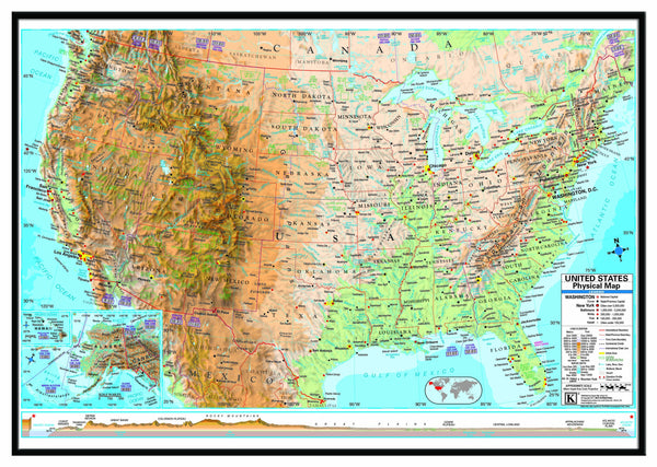 US Advanced Physical Framed Wall Map (Black)