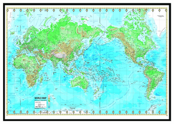 World Advanced Physical Framed Wall Map (Black)