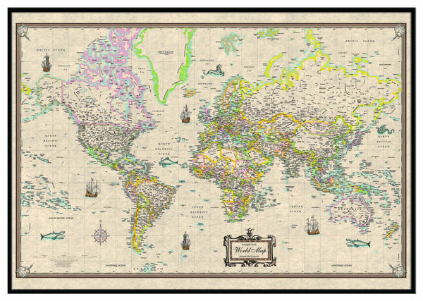 World Antique-Look Framed Wall Map (Black)