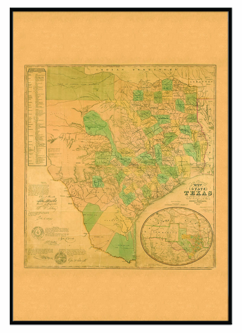 Texas 1853 Historical Print Framed Wall Map (Black)