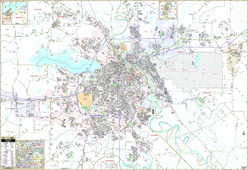 Shreveport & Bossier City, LA Wall Map