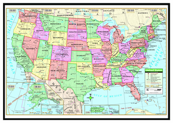 US Primary Framed Wall Map (Black)
