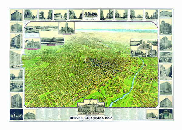 Denver, CO 1908 Historical Print Mounted Wall Map