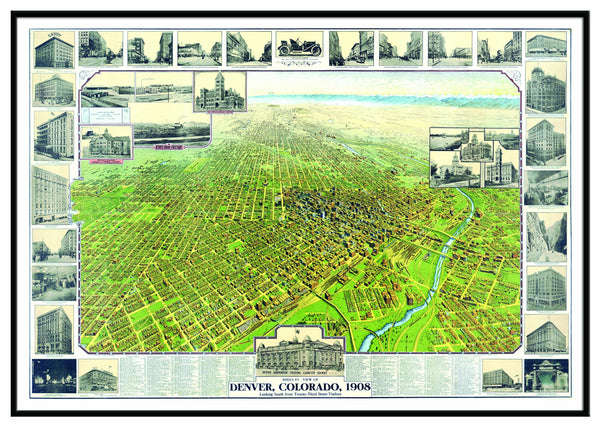 Denver, CO 1908 Historical Print Framed Wall Map (Black)
