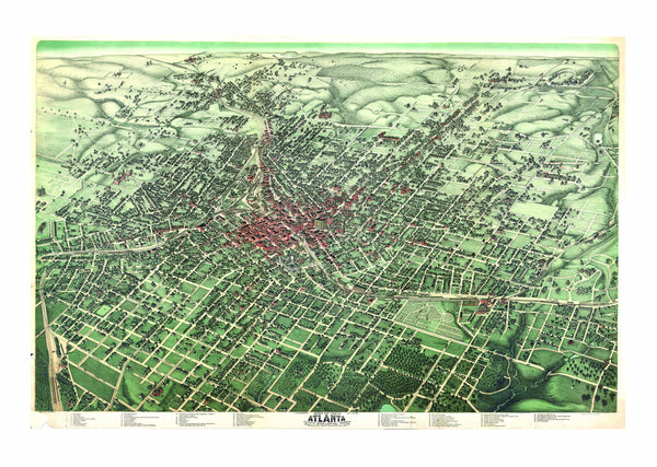 Atlanta, GA 1892 Historical Print Mounted Wall Map