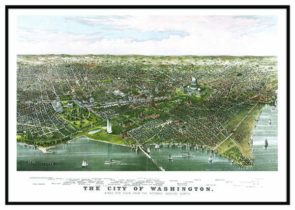 Washington, DC 1880 Historical Print Framed Wall Map (Black)