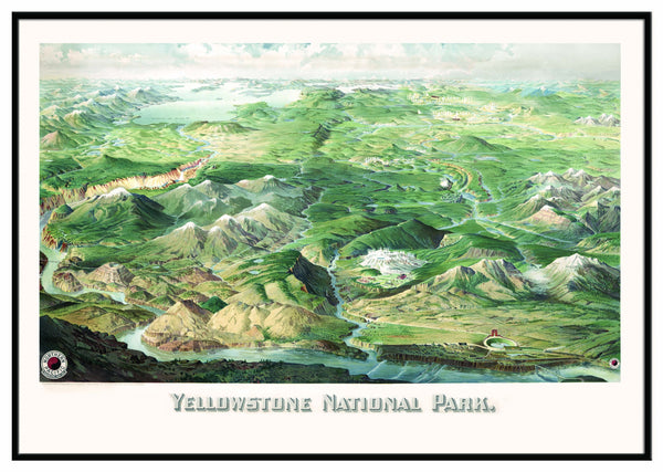 Yellowstone National Park 1904 Historical Print Framed Wall Map (Black)