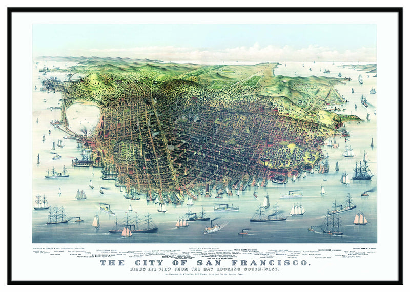San Francisco 1878 Historical Print Framed Wall Map (Black)