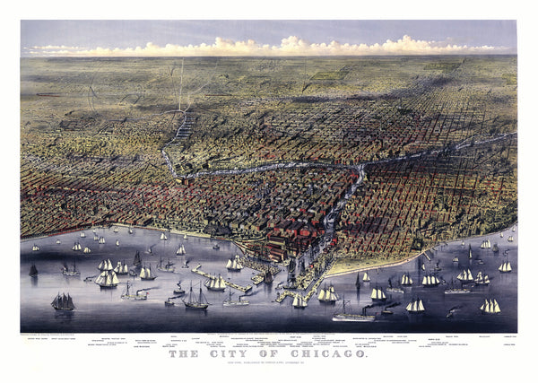 Chicago, IL 1874 Historical Print Mounted Wall Map