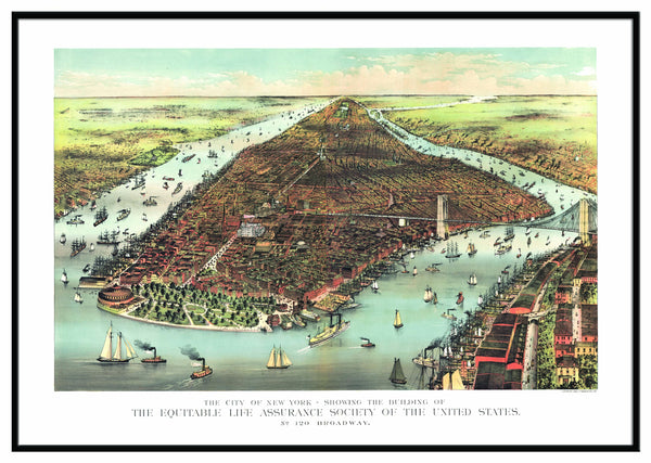 New York 1883 Historical Print Framed Wall Map (Black)