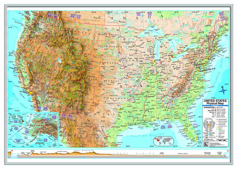 US Advanced Physical Framed Wall Map (Silver)