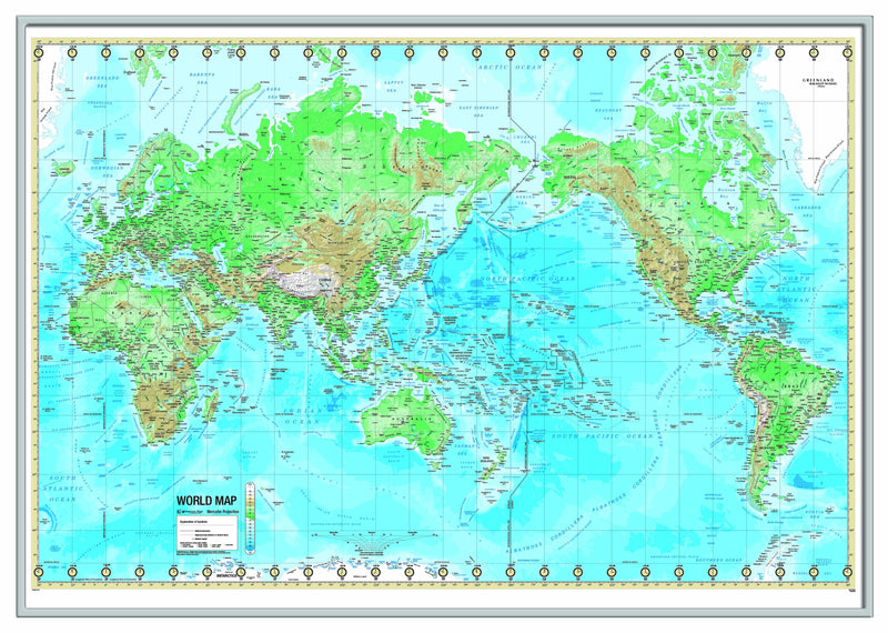 World Advanced Physical Framed Wall Map (Silver)