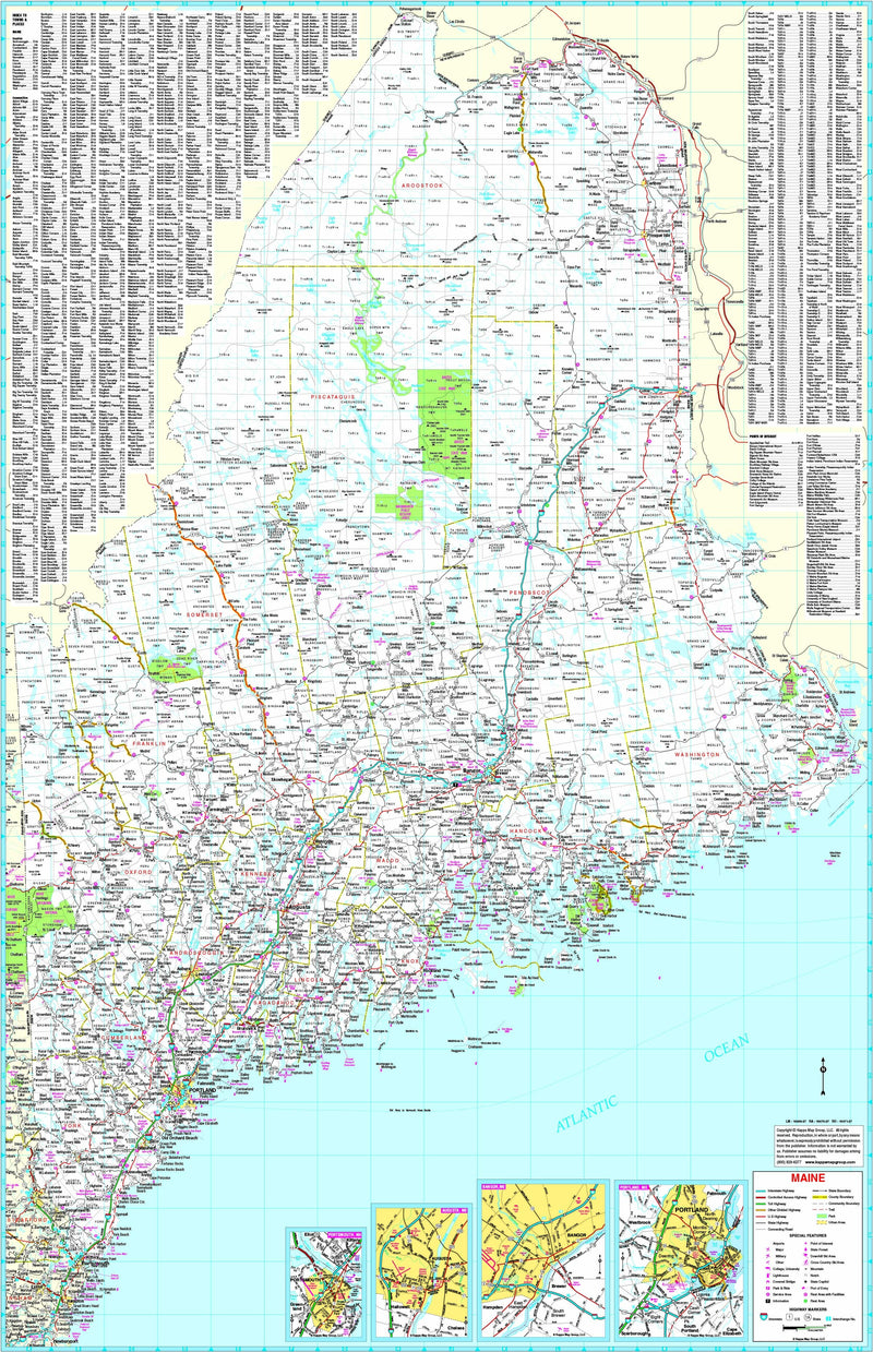 Maine State Wall Map