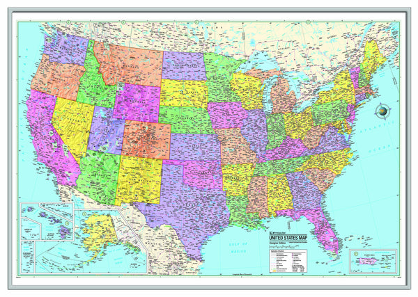 US Advanced Political Framed Wall Map (Silver)