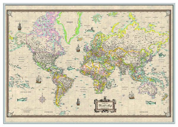 World Antique-Look Framed Wall Map (Silver)