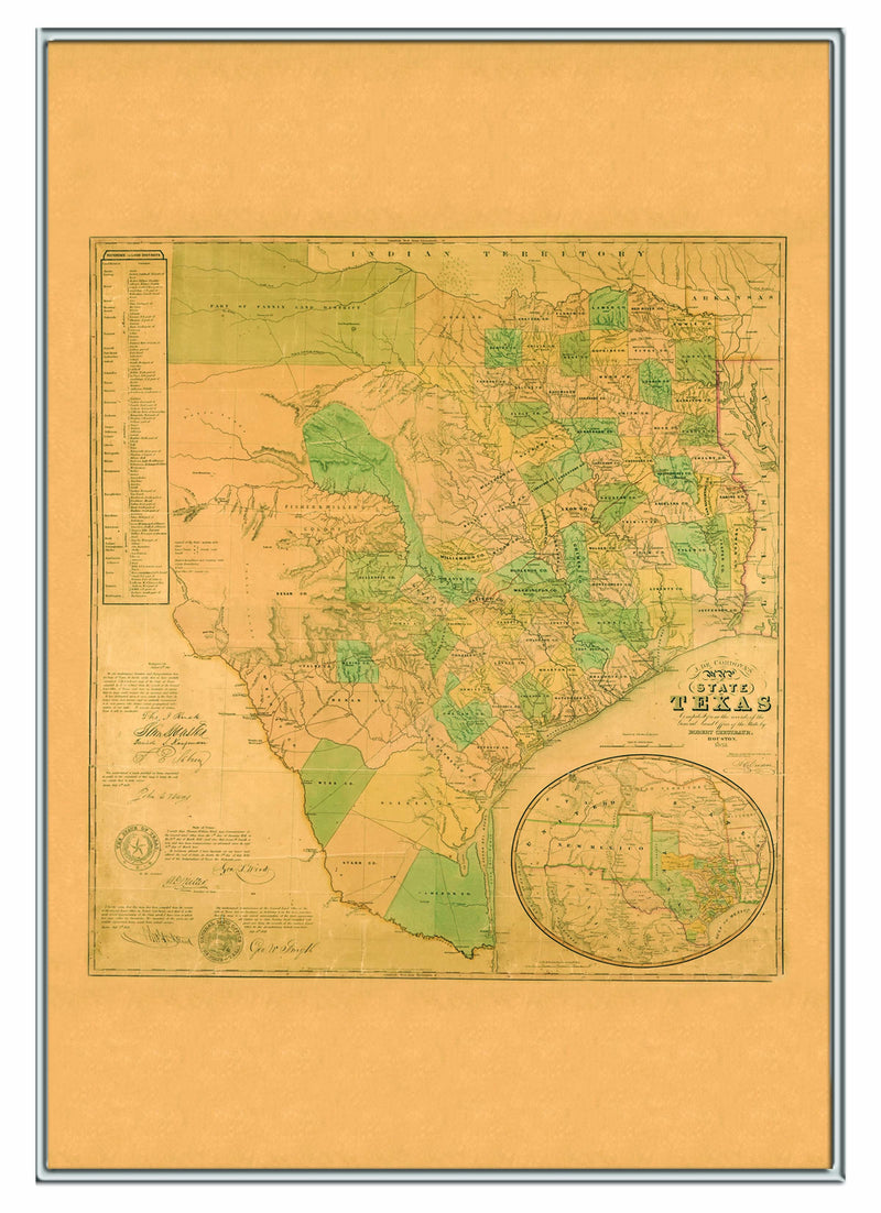 Texas 1853 Historical Print Framed Wall Map (Silver)