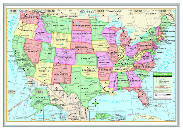 US Primary Framed Wall Map (Silver)