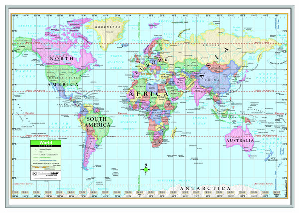 World Primary Framed Wall Map (Silver)