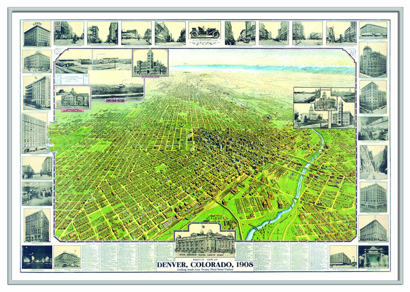 Denver, CO 1908 Historical Print Framed Wall Map (Silver)
