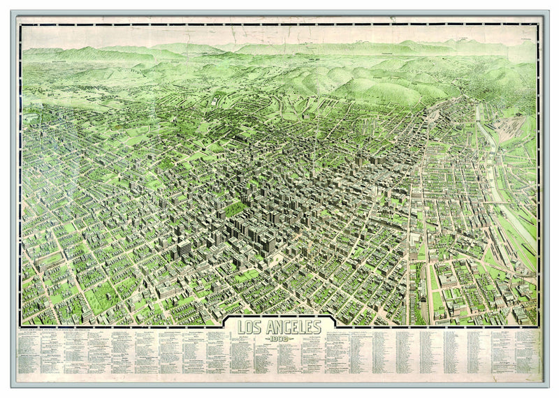 Los Angeles 1909 Historical Print Framed Wall Map (Silver)