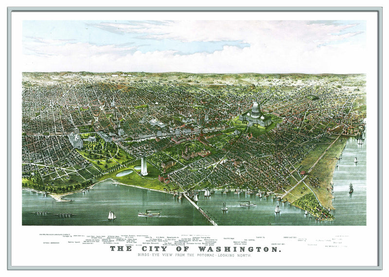 Washington, DC 1880 Historical Print Framed Wall Map (Silver)