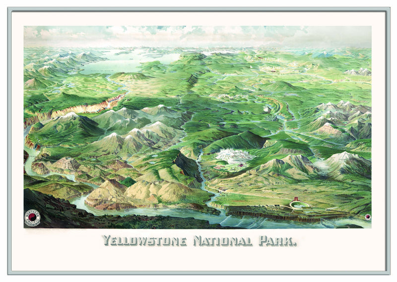 Yellowstone National Park 1904 Historical Print Framed Wall Map (Silver)