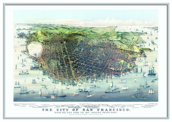 San Francisco 1878 Historical Print Framed Wall Map (Silver)