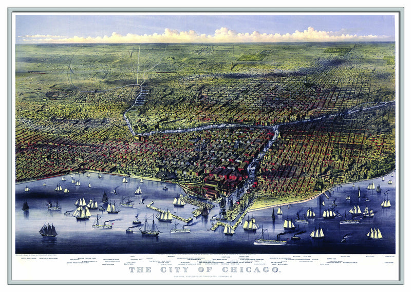 Chicago, IL 1874 Historical Print Framed Wall Map (Silver)