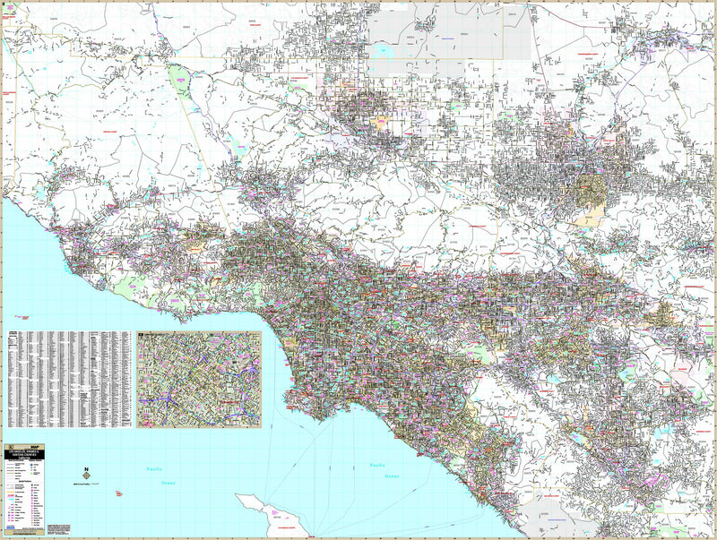 Los Angeles, Orange & Ventura Counties, CA Wall Map