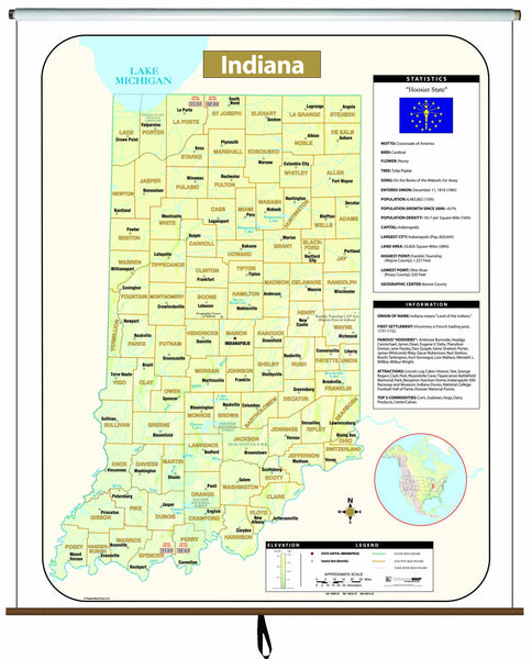 Indiana Large Scale Shaded Relief Wall Map on Roller