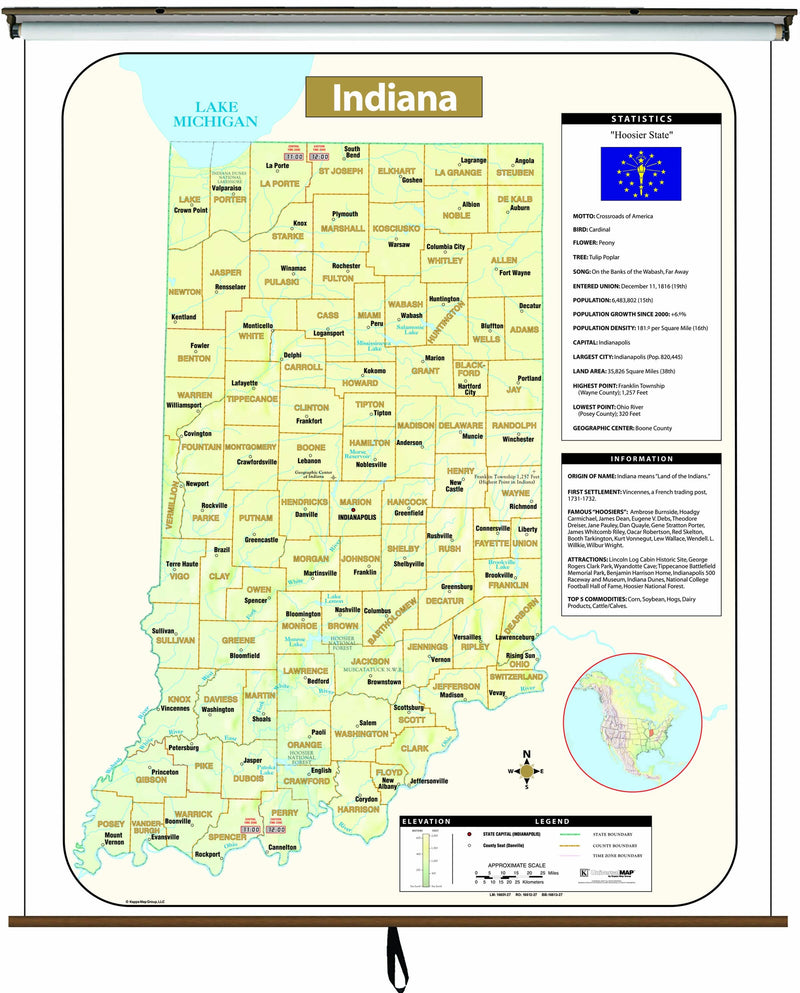 Indiana Large Scale Shaded Relief Wall Map on Roller with Backboard