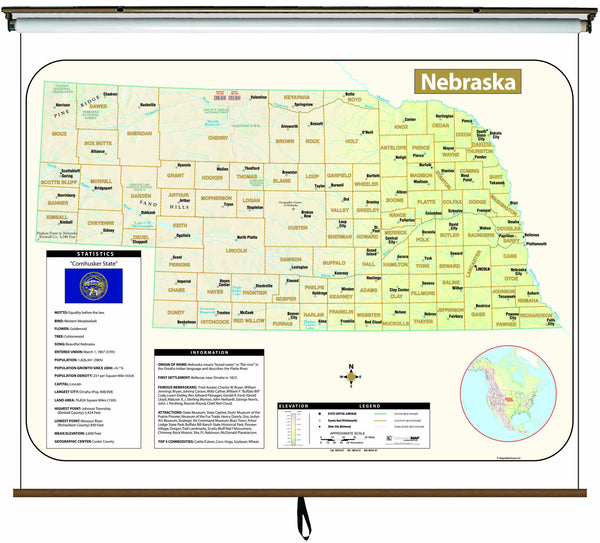 Nebraska Large Scale Shaded Relief Wall Map on Roller with Backboard
