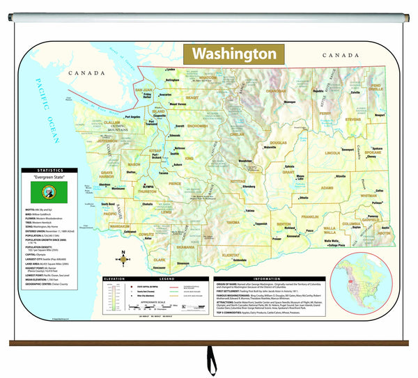 Washington Large Scale Shaded Relief Wall Map on Roller