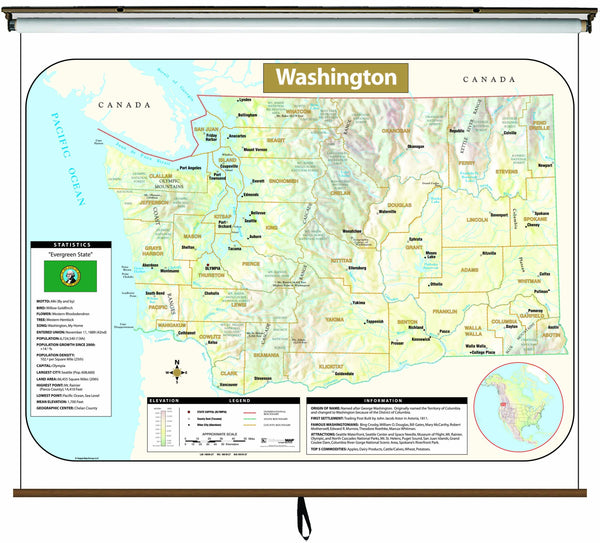 Washington Large Scale Shaded Relief Wall Map on Roller with Backboard