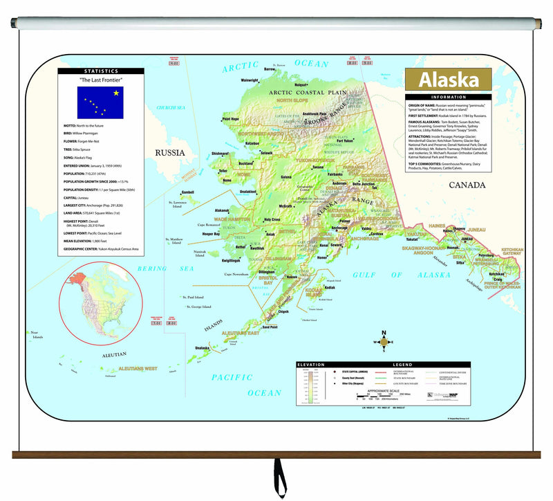 Alaska Large Scale Shaded Relief Wall Map on Roller