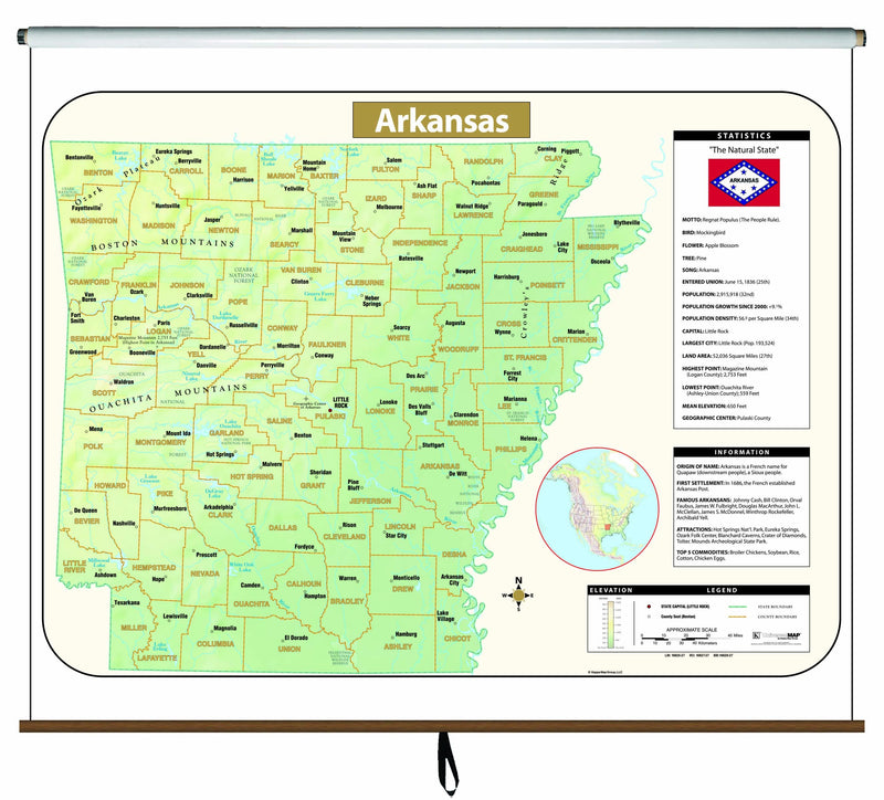 Arkansas Large Scale Shaded Relief Wall Map on Roller