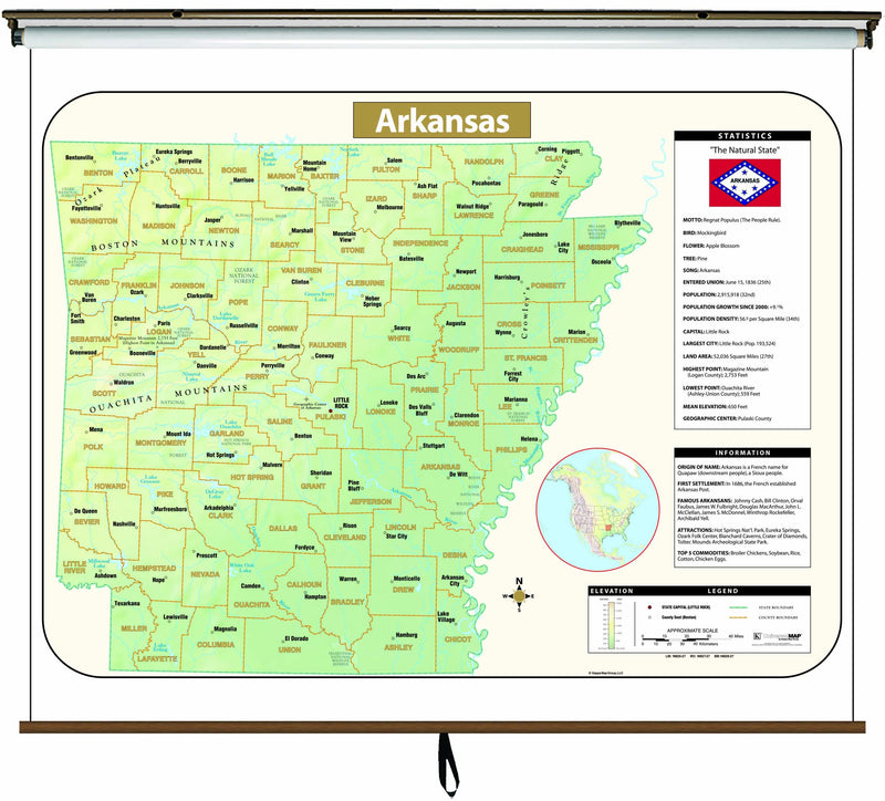 Arkansas Large Scale Shaded Relief Wall Map on Roller with Backboard