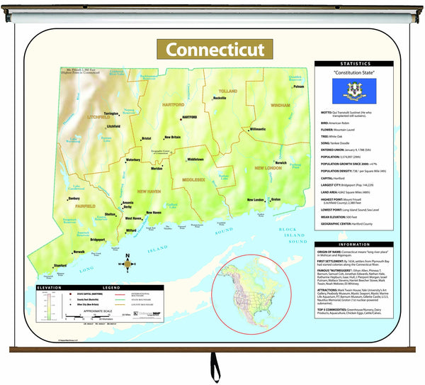 Connecticut Large Scale Shaded Relief Wall Map on Roller with Backboard