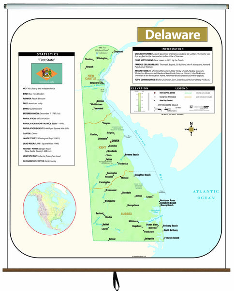 Delaware Large Scale Shaded Relief Wall Map on Roller