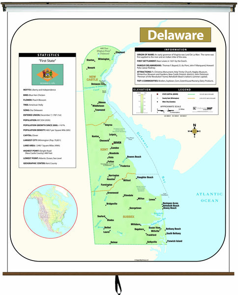 Delaware Large Scale Shaded Relief Wall Map on Roller with Backboard