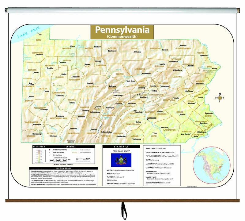 Pennsylvania Large Scale Shaded Relief Wall Map on Roller