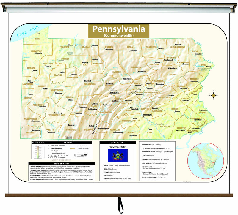 Pennsylvania Large Scale Shaded Relief Wall Map on Roller with Backboard