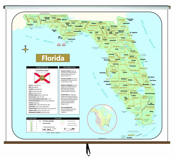 Florida Large Scale Shaded Relief Wall Map on Roller