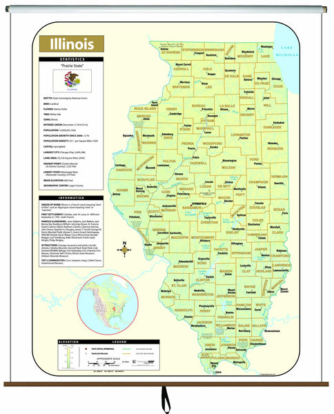Illinois Large Scale Shaded Relief Wall Map on Roller