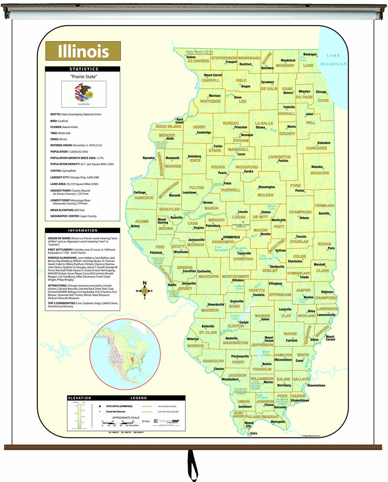 Illinois Large Scale Shaded Relief Wall Map on Roller with Backboard