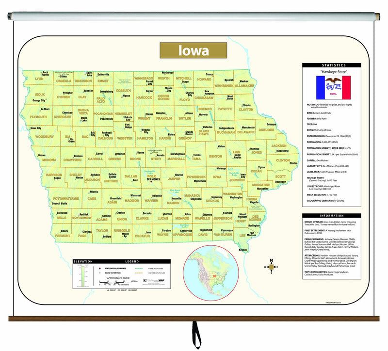 Iowa Large Scale Shaded Relief Wall Map on Roller