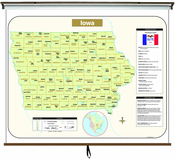 Iowa Large Scale Shaded Relief Wall Map on Roller with Backboard