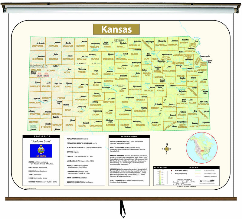 Kansas Large Scale Shaded Relief Wall Map on Roller with Backboard
